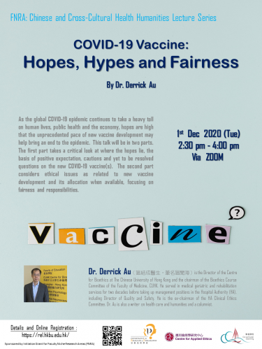 COVID-19 Vaccine:  Hopes, Hypes and Fairness