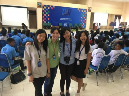 Joanna Wong (left) and three other United Nations volunteers from Hong Kong help organise the United Nations Day in Timor-Leste.